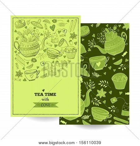 Tea Branding Design. Tea sweets doodle cards. Tea label background brand. Banner.