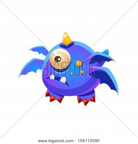 Blue Fantastic Friendly Pet Dragon With Four Wings And One Eye Fantasy Imaginary Monster Collection. Colorful Imaginary Dragon Like Alien Creature From Another Planet.