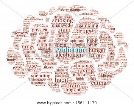 Addiction Brain word cloud on a white background.