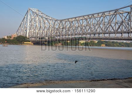 Historic Howrah bridge on river Ganges at Kolkata - the longest cantilever bridge in India.