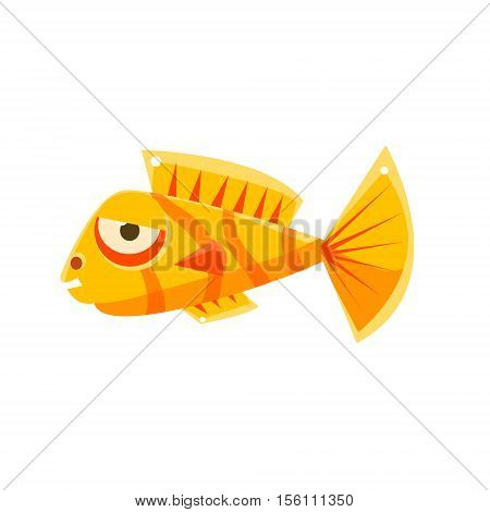 Orange Stripy Phlegmatic Fantastic Aquarium Tropical Fish Cartoon Character. Fantasy Warm Water Aquatic Life And Marine Fish Collection Element.