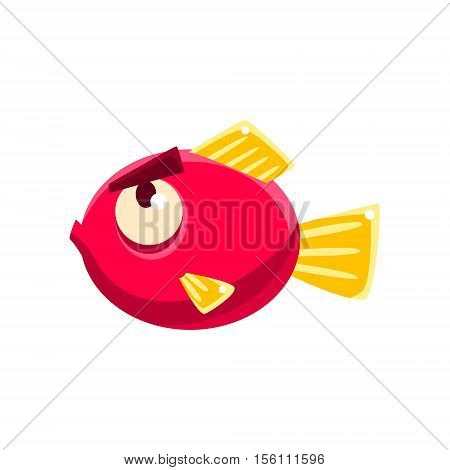 Stubborn Red Fantastic Aquarium Tropical Fish With Eyebrows Cartoon Character. Fantasy Warm Water Aquatic Life And Marine Fish Collection Element.