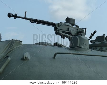 Upper Pyshma, Russia - July 02, 2016: machine gun 12.7 mm in the turret of a soviet medium tank T-62 mod. 1961 exhibit of the Museum of military equipment. Tank produced from 1961 to 1973.