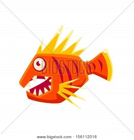 Red Agressive Fantastic Aquarium Tropical Fish With Spiky Fins Cartoon Character. Fantasy Warm Water Aquatic Life And Marine Fish Collection Element.