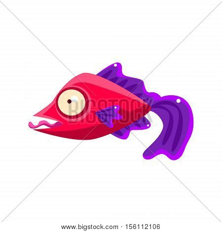 Silly Red Fantastic Aquarium Tropical Fish With Purple Fins Teasing With Tongue Out Cartoon Character. Fantasy Warm Water Aquatic Life And Marine Fish Collection Element.