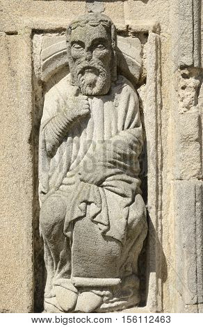 Sculpture at the Door of Forgiveness in the cathedral of Santiago de Compostela Galicia Spain