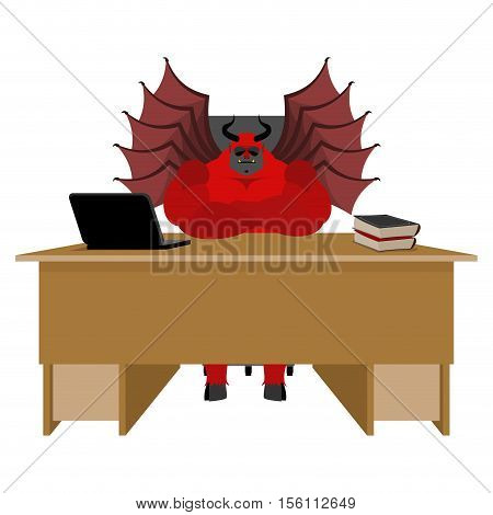 Devil Of Workplace. Satan Boss Sitting In Office. Red Demon At Work. Leader At Job Table. Laptop And