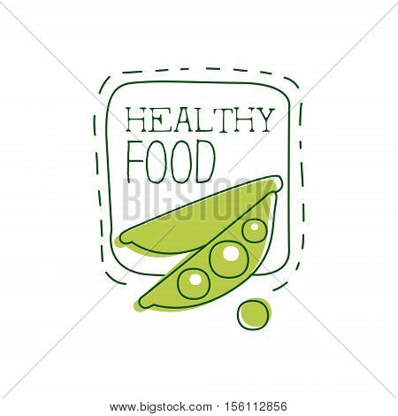 Fresh Vegan Food Promotional Sign With Peas And Square Frame For Vegetarian, Vegan And Raw Food Diet Menu. Hand Drawn Advertisement Logo For Natural Products And Healthy Lifestyle Eating.