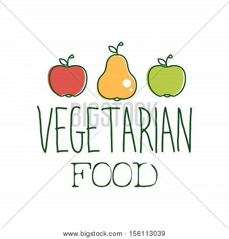Fresh Vegan Food Promotional Sign With Two Apples And A Pear For Vegetarian, Vegan And Raw Food Diet Menu. Hand Drawn Advertisement Logo For Natural Products And Healthy Lifestyle Eating.