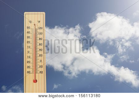 Thermometer.High temperatures in degrees celsius and farenheit.
