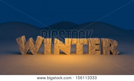 3D generated winter text on a winter background