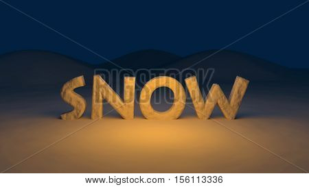 3D generated snow text on a winter background