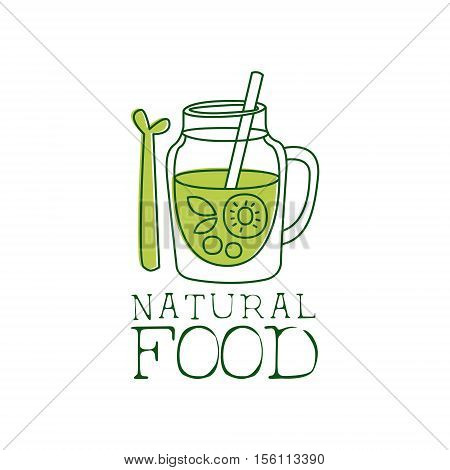 Fresh Vegan Food Promotional Sign With Smoothie And Asparagus For Vegetarian, Vegan And Raw Food Diet Menu. Hand Drawn Advertisement Logo For Natural Products And Healthy Lifestyle Eating.