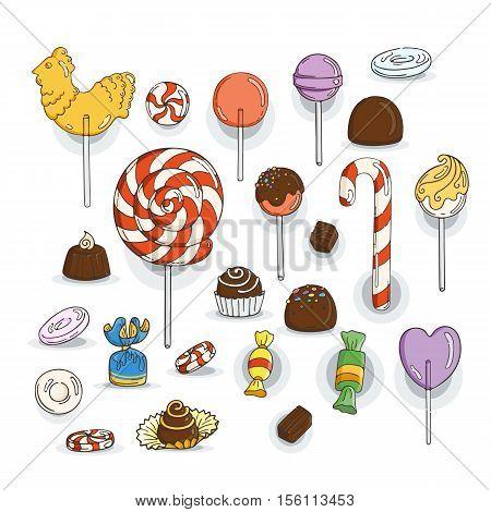 Set of Candy Icons. Glaze, caramel, candy, lollipops, chocolates, truffles.