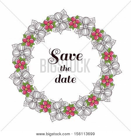 Wreath made from pink flowers. Can be used for design of wedding invitation. Vector illustration.