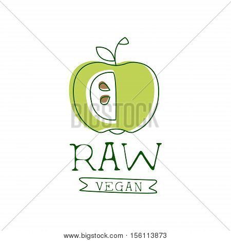 Fresh Vegan Food Promotional Sign With Green Apple For Vegetarian, Vegan And Raw Food Diet Menu. Hand Drawn Advertisement Logo For Natural Products And Healthy Lifestyle Eating.