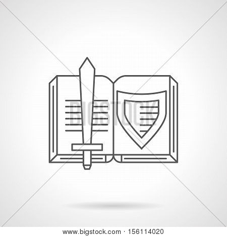 Shield and sword on a pages of open book. Novels about medieval knights. Historical and imaginative literature. Flat black line vector icon.