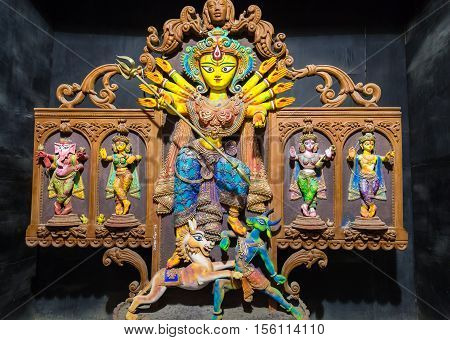 Durga goddess idol in Indian creative art form. Durga puja is one of the most popular hindu festival in India.