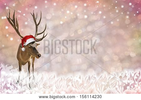 festive background with light circles snow flakes and reindeer with nicholas cap