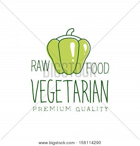 Fresh Vegan Food Promotional Sign With Sweet Pepper For Vegetarian, Vegan And Raw Food Diet Menu. Hand Drawn Advertisement Logo For Natural Products And Healthy Lifestyle Eating.