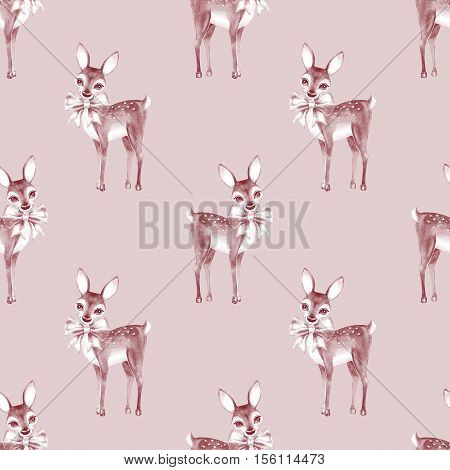 Pattern with Baby Deer. Hand drawn cute fawn on paper background.