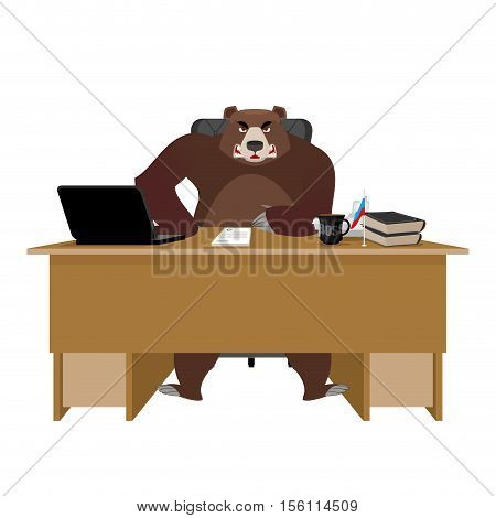Bear sitting in an office. Russian boss at table. Businessman from Russia at desk. National folk chief. Beast leader. Workplace supervisor. Director desktop. Laptop and phone. Cup of coffee and Chair