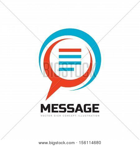Message - speech bubbles vector logo concept illustration in flat style. Dialogue talking icon. Chat sign. Social media symbol. Social communication insignia. Design element. poster