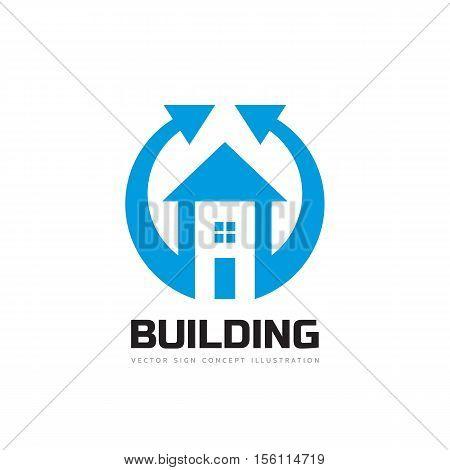 Building and arrows - vector logo template concept illustration. Real estate creative sign. Architecture cottage symbol. Design element.