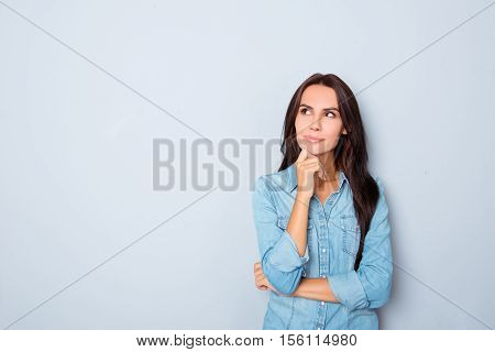 Beautiful Minded Woman Dreaming About Future On Gray Background