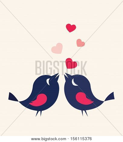 Birds In Love Heart Card Cute Cartoon Illustration Vector Stock