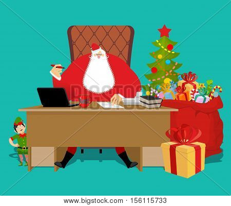 Santas Working Office. Claus At Work. Christmas Elf Helper. Big Red Bag With Gifts For Children. Des