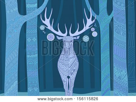 Christmas deer. Merry Christmas and Happy New Year card with deer in forest. Beautiful decorative color line patterns on the deer and trees