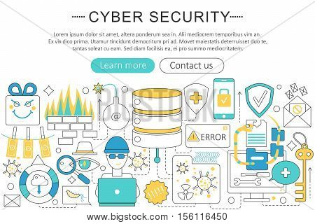 Vector elegant thin flat line Cyber security concept. Website header banner elements layout. Presentation, flyer and poster. Internet online security concept