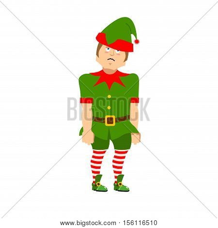 Sad Christmas Elf. Sorrowful Helper Of Santa Claus. Dull Little Man In Green Suit. Xmas Character Fo