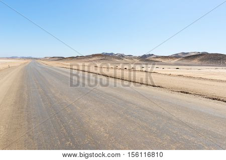 Salt Road Crossing The Namib Desert, In The Majestic Namib Naukluft National Park, Best Travel Desti