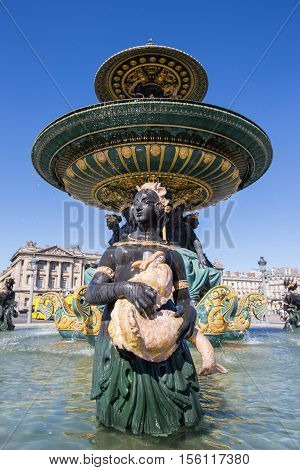 Fountain (designed by Jacques-Ignace Hittorff) on Place Concorde in Paris France.
