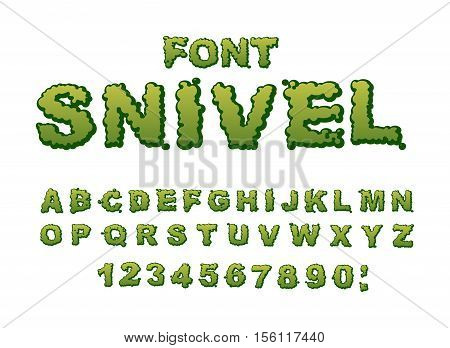Snivel Font. Slippery Lettering. Booger Alphabet. Green Slime Letters. Snot Abc. Mucus Typography