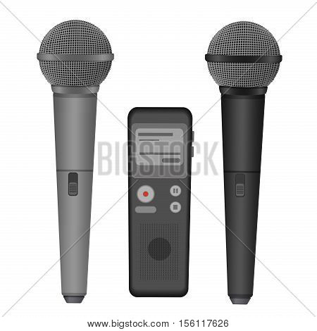 Microphone and dictaphone vector flat icons illustration. Audio technology equipment. Microphone sound and hand recorder