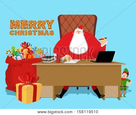 Santa Claus Office. Christmas Work. Desk And Chair Boss. Grandpa Director Of New Year. Cheerful Elf.