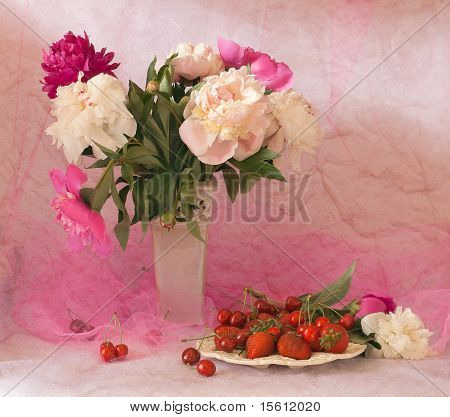 Fresh Berries And Peonies