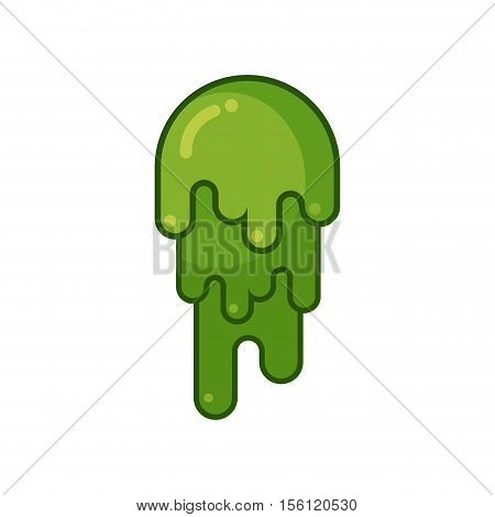 Booger Isolated. Snot On White Background. Snivel Large Green Lump Of Slime