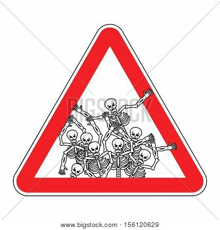 Warning Sign Of Attention Sinners. Dangers Red Sign Dead. Skeletons On Triangle. Hell Road Signs Pay