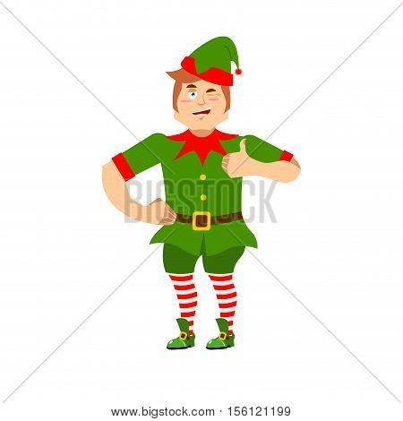 Good Christmas Elf Winks And Thumbs Up. Sign All Is Well. Cute Joyful Helper Of Santa Claus. Happy L