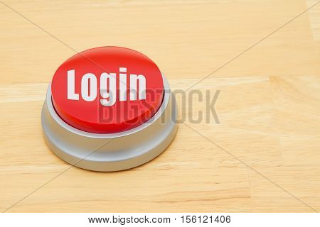 A Login red push button A red and silver push button on a wooden desk with text Login