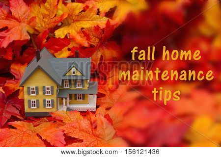 Home maintenance tips for the fall season Some fall leaves and yellow and gray house with text fall home maintenance tips