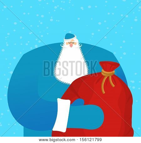 Father Frost Russian Santa Claus. Great Grandfather In Blue Suit And Big Red Bag With Gifts For Chil