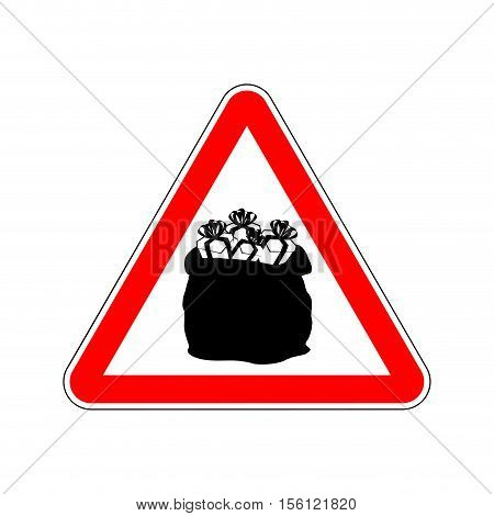 Warning Sign Attention Christmas Gift. Dangers Red Sign. Santas Bag With Red Triangle. Attention New