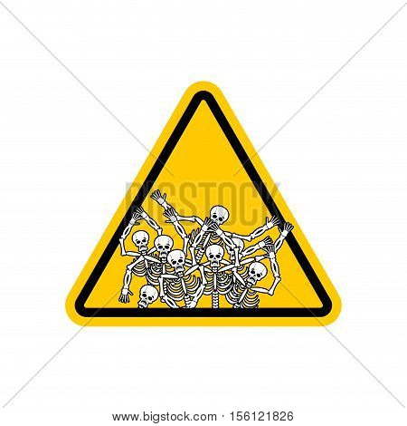 Warning Sign Of Attention Sinners. Dangers Yellow Sign Dead. Skeletons On Triangle. Hell Road Signs