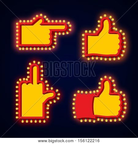 Pointers Hand Glowing Lights Set. Retro Thumbs Up With Light Bulb. Like Vintage Directions. Index Sh