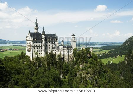 Romanesque castle neuschwanstein in Hohenschwangau in Germany